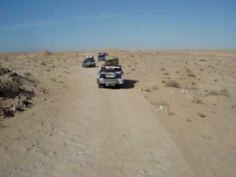 Driving through the minefield on the Western Sahara/Mauritania boarder.