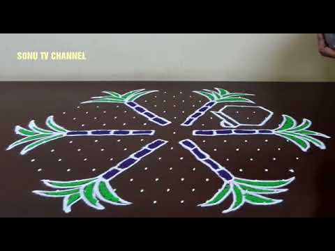 15 × 8 DOTS || PONGAL POT KOLAM || INTERLACED DOTS || KOLAM FOR PONGAL || HOW TO DRAW ||