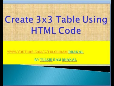 Create 3x3 table using html code youtube - Html code for creating table ...