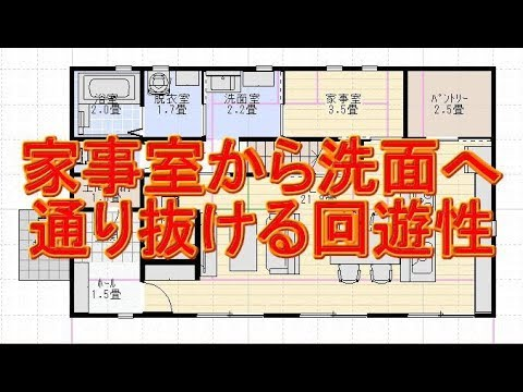 家事室から洗面へ通り抜ける回遊性のある間取り図リビングにたまり場