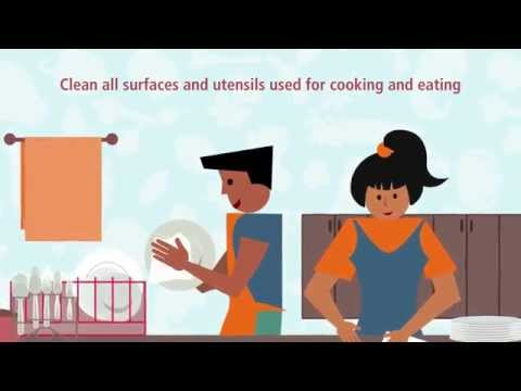 Clean all surfaces and utensils used for cooking and eating