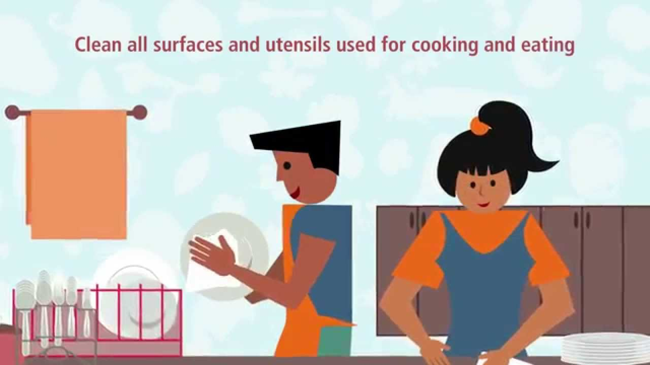 Clean All Surfaces And Utensils Used For Cooking And