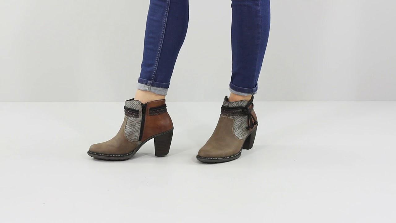 b9d07e2c5017 Rieker 55298-65 Women s Heeled Ankle Boot - Brown - YouTube