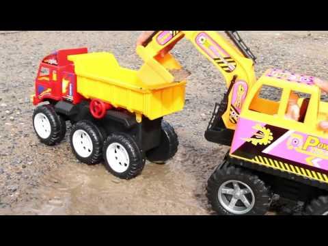 รีวิวของเล่น - รถแม็คโคร power truck ตักดินทำภารกิจ วีดีโอสำหรับเด็ก