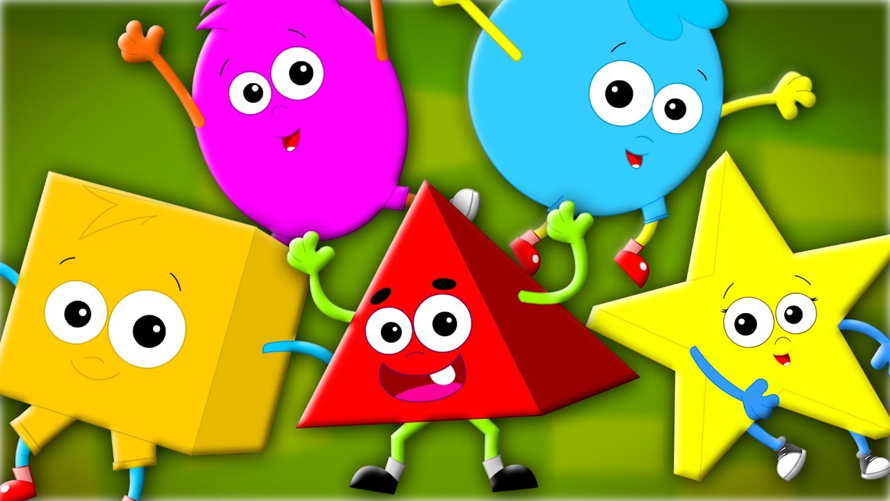 Five Little Shapes | The Shapes Song | Nursery Rhymes | Children ...