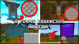 5 FARMS ESSENCIAIS PARA SEU SURVIVAL NO MCPE - Minecraft Bedrock