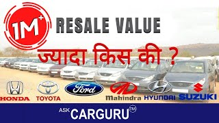 Top Cars on Resale Value, CARGURU ने 12 Cars बतायी,  Toyota, Hyundai, Maruti, Mahindra & ford