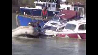 Saving a boat on the Thames at Richmond Feb 2014