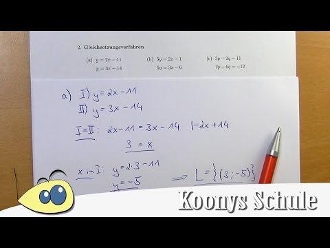 Gleichsetzungsverfahren, Aufgaben vorgerechnet, Lösungen   2/7 ...