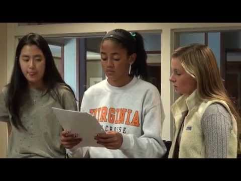 All-female a capella group 'Rouge' in rehearsal at the Lawrenceville School