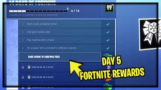 "NEW ""DAY 5"" 14 DAYS OF FORTNITE FREE REWARDS (New Free Daily Holiday Challenges)"