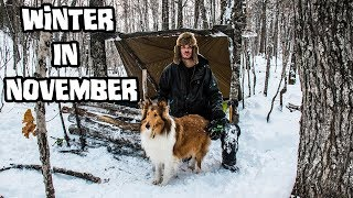 Bushcraft Camp in the Snow - Winter in November