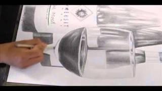 eManArt Drawing Glass Wine Bottles