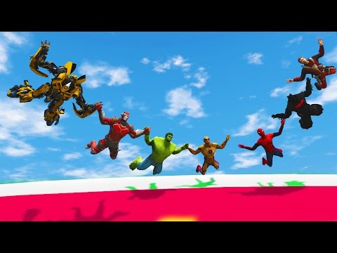 Thumbnail: FLYING BOWLING CHALLENGE! (Funny Superhero Contest Animation w/ Spiderman Deadpool Batman Hulk)