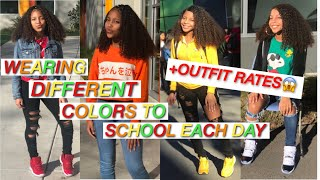 WEARING DIFFERENT COLORS TO SCHOOL FOR A WEEK + OUTFIT RATES😱🌈  | love curlykay
