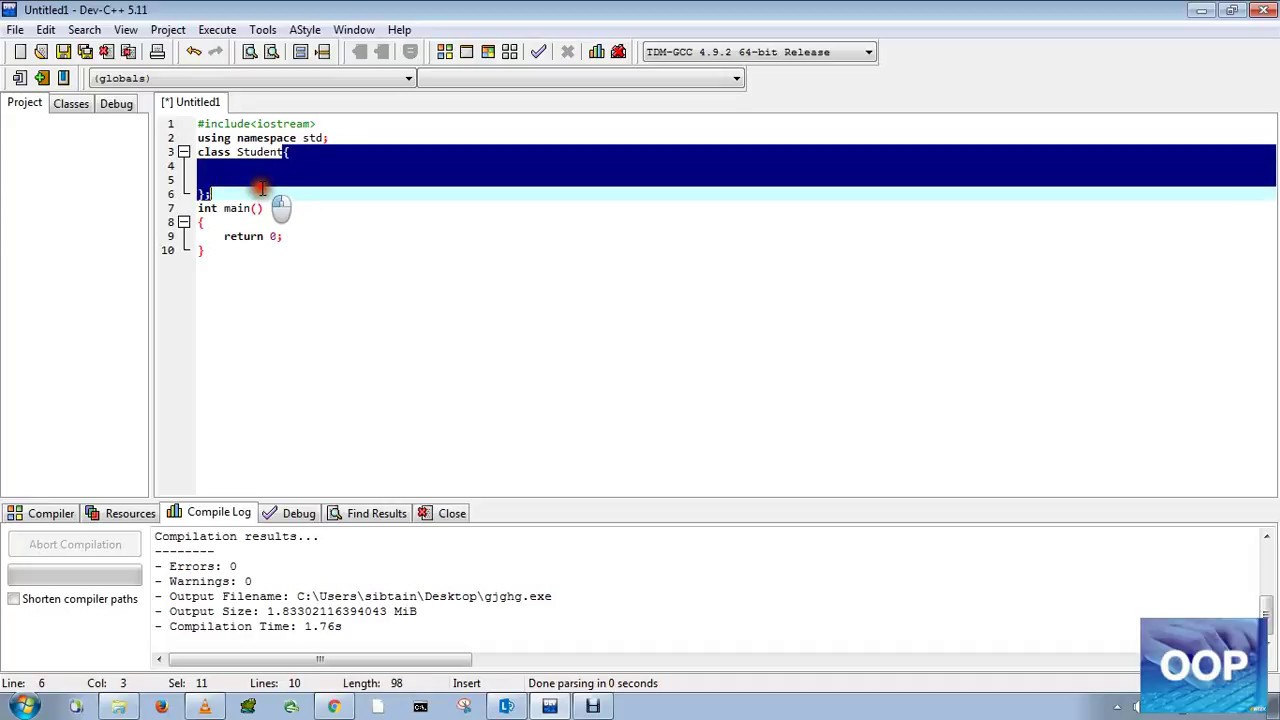 Simplest program of class!! OOP in C++ by Muhammad Sibtain