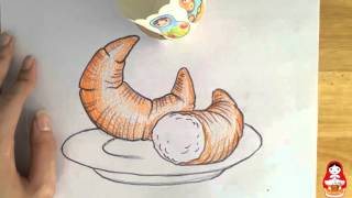 How to draw a CRESCENT ROLL | How to draw tutorials | Draw With Tom