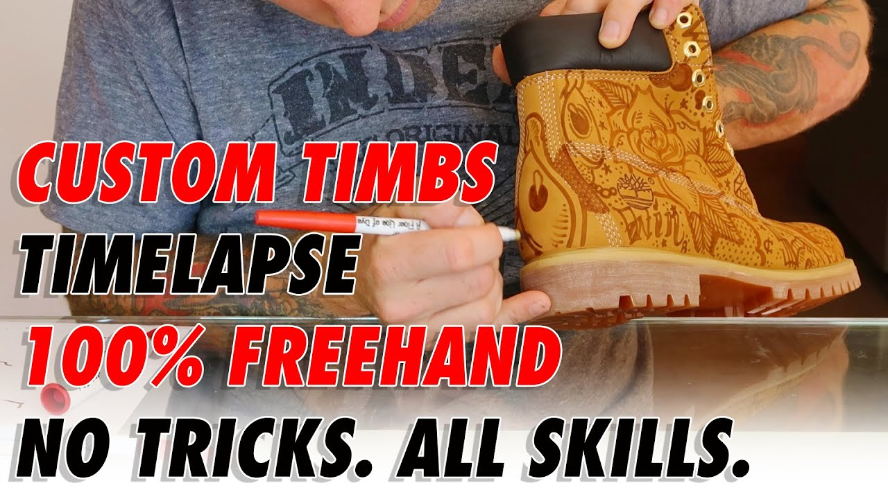 625cb577a9ca CUSTOM TIMBS ALL FREEHAND TIMELAPSE - YouTube