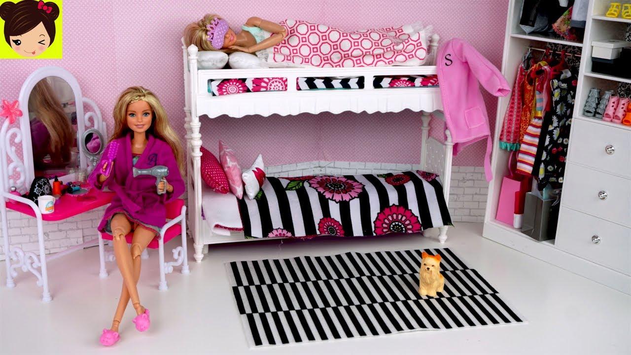 Barbie Gemelas Rutina De Mañana Habitacion Con Literas De Muñecas