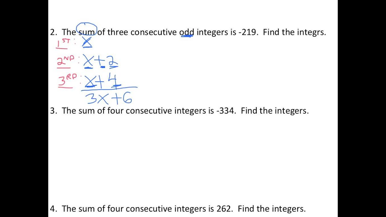worksheet Integer Problems solving consecutive odd integer word problems youtube problems