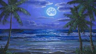 Как рисовать море и волны ночью, используя акрил на холсте