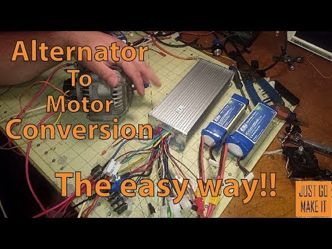 Alternator to motor conversion with Ebike controller.  THE EASY WAY
