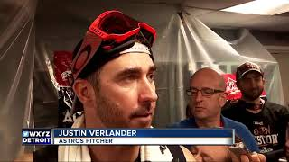 Justin Verlander celebrates ALDS win in Astros champagne party
