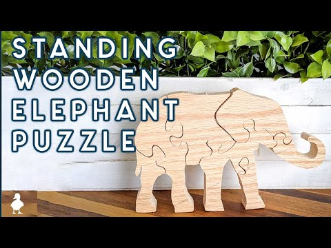 Standing Wooden Elephant Puzzle