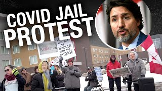 Protesters gather outside Calgary COVID quarantine jail at Westin Hotel