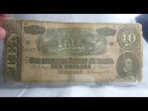 Ten Dollars 1864 Confederate States United States $ Richmond Banknote Bill Paper Money