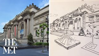 How To Draw The Met Using Perspective Drawing | Drop-in Drawing