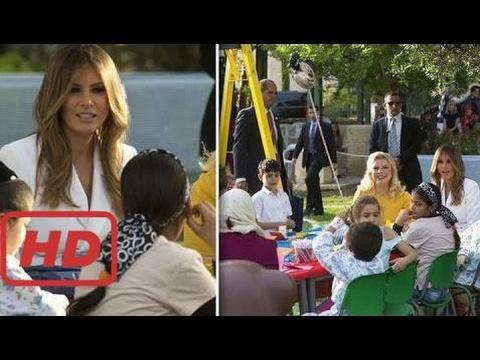 Melania Trump talk to children during a visit to hospital in Jerusalem