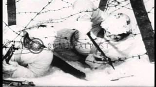 German infantry advances and fires artillery guns in a snowy field on the Eastern...HD Stock Footage
