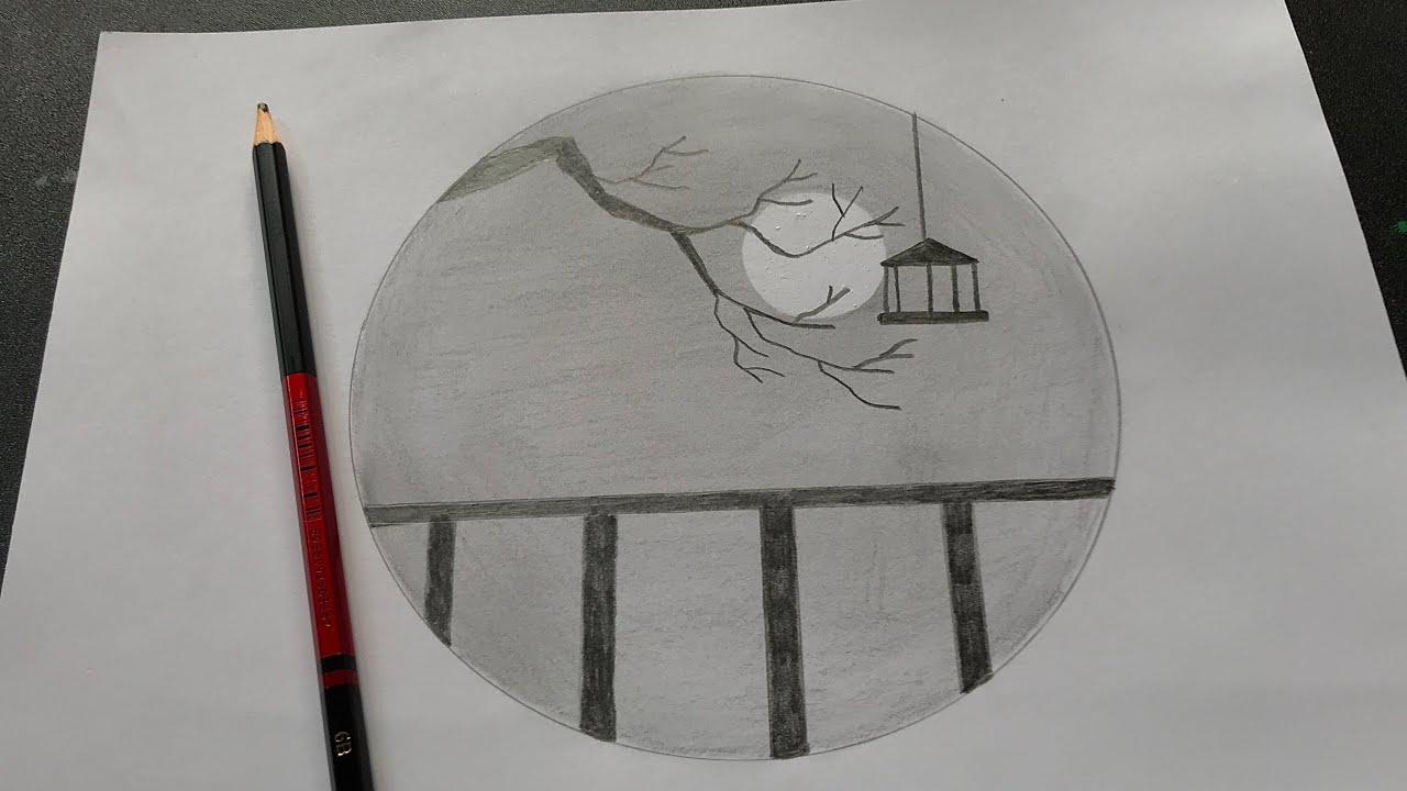 Hướng dẫn vẽ tranh phong cảnh bằng bút chì | How to draw simple scenery with pencil