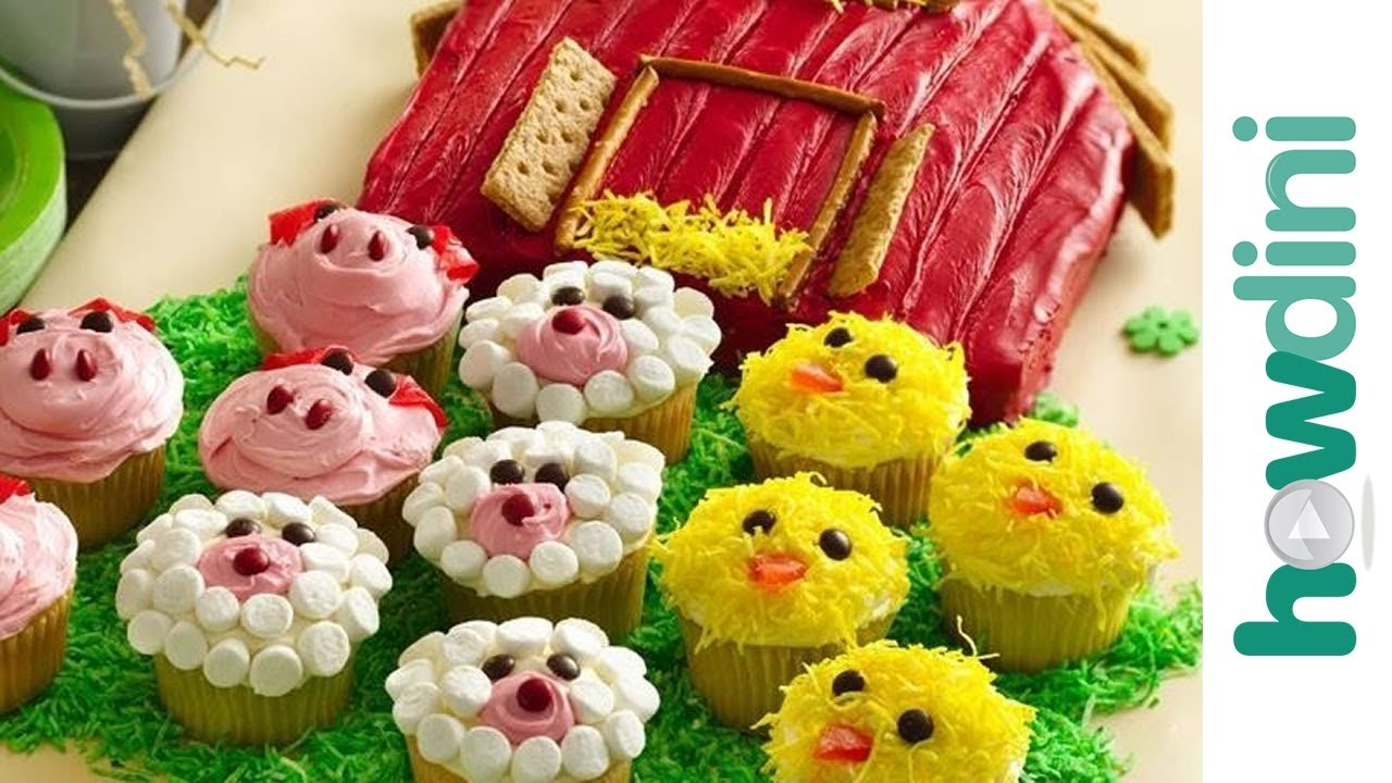 Birthday Cake Ideas How To Make A Barn And Farm Animal Cupcakes