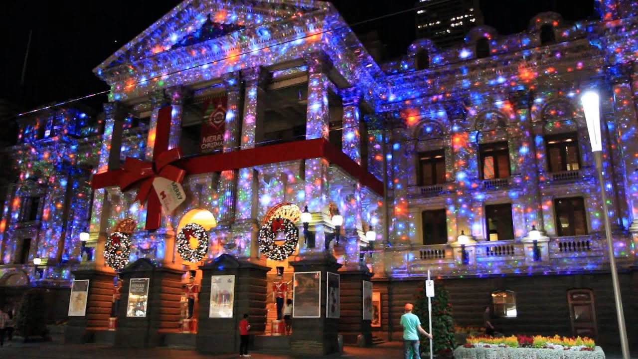 Snow Falling At Night Wallpaper Melbourne Town Hall Christmas Lights Projection 2012