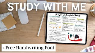 STUDY WITH ME + Free Handwriting Font DOWNLOAD | GoodNotes5, Quizlet, Office Word