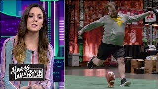 Fans who sent mean tweets about kickers try to make real field goals | Always Late with Katie Nolan thumbnail