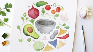 How to Watercolor x Guacamole! | Food Illustration