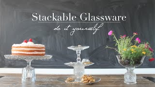{diy} Stackable Glassware: Cake Stand + Jewelry Organizer + Planter