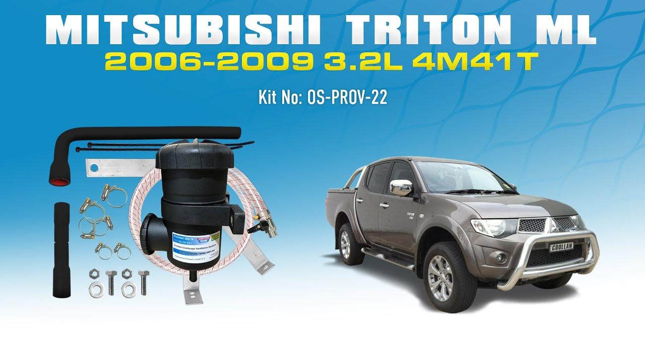 OS-PROV-22 Mitsubishi Triton 2006-10 ML 4M41T 3 2L Common Rail - ProVent  Oil Catch Can Kit