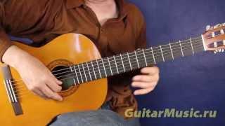 В лесу родилась ёлочка — как играть на одной струне — Простые мелодии для гитары