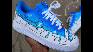 CUSTOM NIKE AF1 LOUIE VUITTON DRIP TIME LAPSE(4 shoes in 1 video!!)