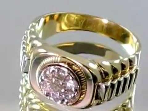 Rolex Style Mens Diamond Ring 14K Gold  Mens Rolex