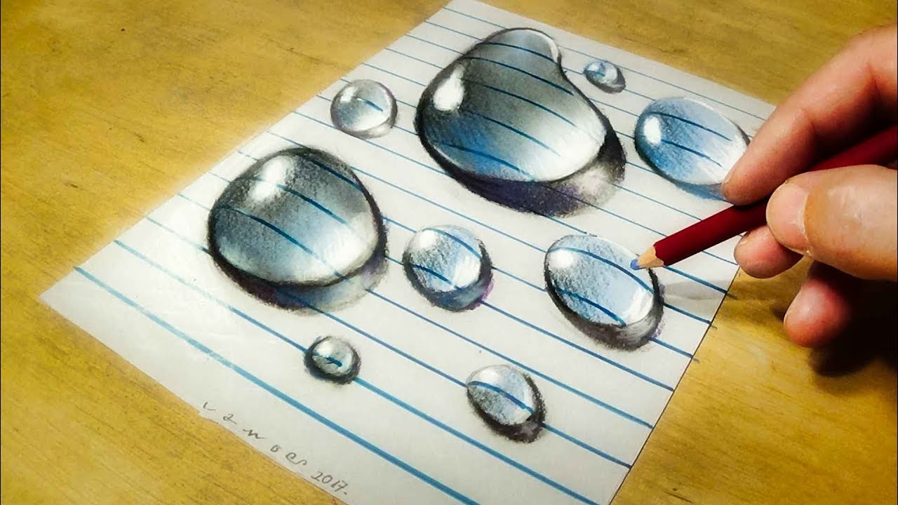 Drawing water drops on line paper how to draw 3d drops vamosart