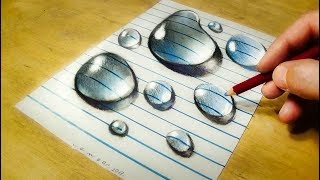 Drawing  Water Drops on Line Paper - How to Draw 3D Water Drops - Realistic Trick Art - VamosART