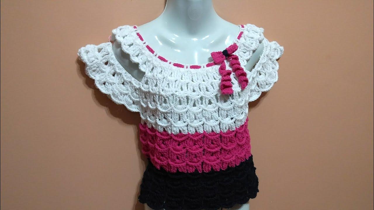 6a3a0ac50961c بلوزة نسائي كروشيه غرزة البارشوت Crochet Dalia   Ahmed - YouTube