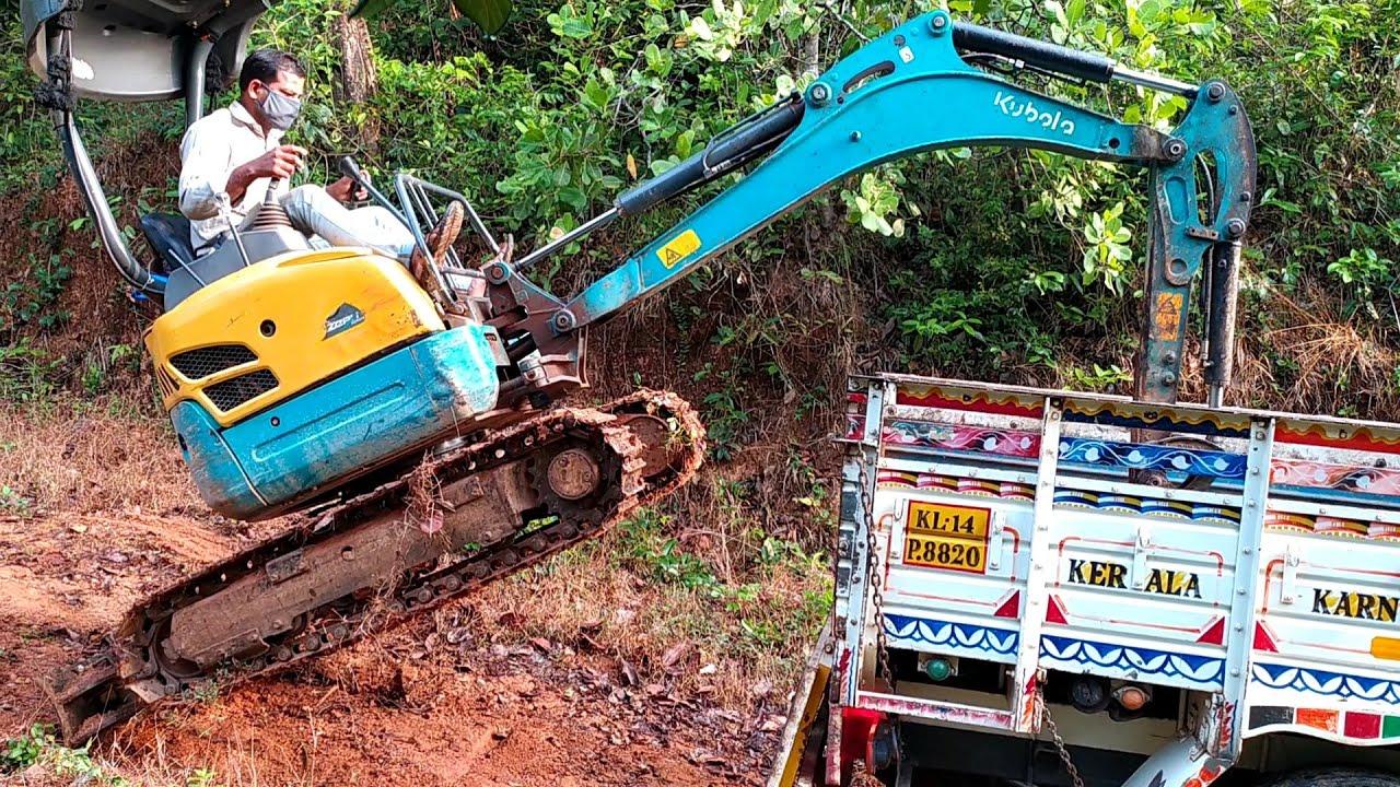 Mini Excavator Climbing Pickup   Excavator Loading Trucks   Excavator Unloading