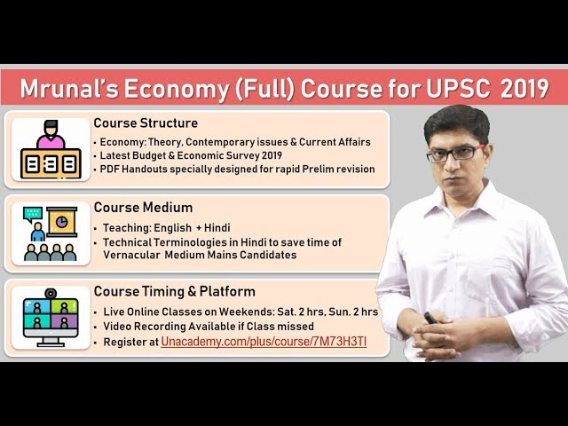Mrunal's Economy (Full) Course for UPSC 2019: Online Live Classes on Weekends