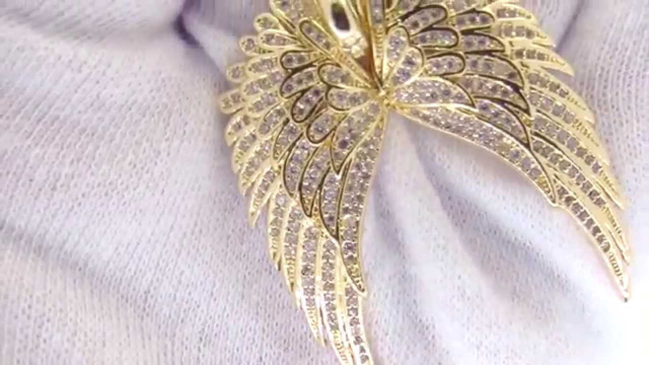 Large bling bling guardian angel wings pendant gold iced out large bling bling guardian angel wings pendant gold iced out jewelry aloadofball Choice Image